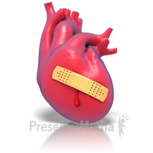 ID# 1770 - Human Heart Band-aid  - Presentation Clipart