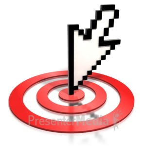 ID# 1779 - Pixelated Cursor Arrow On Target - Presentation Clipart