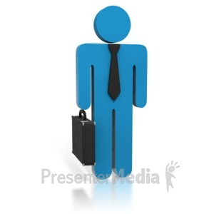 ID# 1780 - Blue Business Stick Figure Briefcase - Presentation Clipart