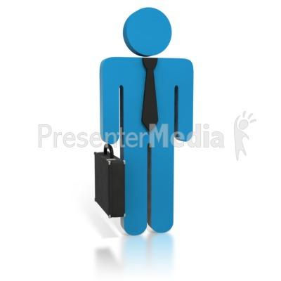Blue Business Stick Figure Briefcase PowerPoint Clip Art