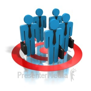 ID# 1781 - Blue Business People Standing In Target - Presentation Clipart