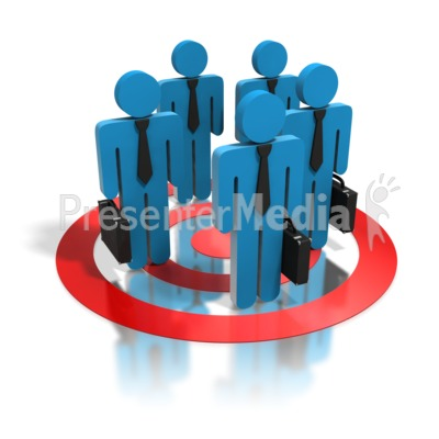 Blue Business People Standing In Target PowerPoint Clip Art