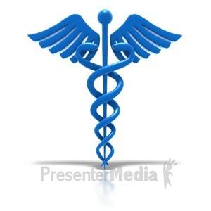 ID# 1783 - Caduceus - Blue Medical Health Symbol  - Presentation Clipart