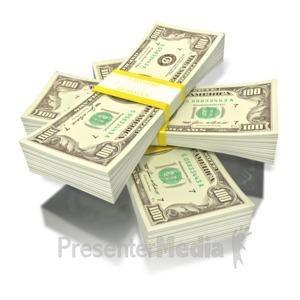 ID# 1797 - short stack of money - Presentation Clipart