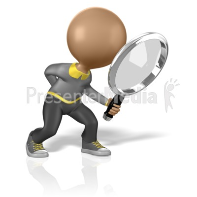 Stick Figure Searching for Clues PowerPoint Clip Art