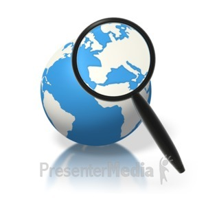 ID# 1816 - Earth Magnifying Glass Europe - Presentation Clipart