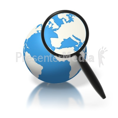 Earth Magnifying Glass Europe PowerPoint Clip Art