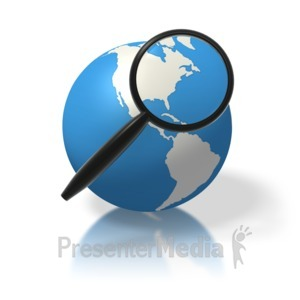 ID# 1817 - Earth Magnifying Glass North America - Presentation Clipart