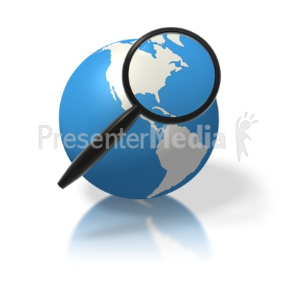Earth Magnifying Glass North America PowerPoint Clip Art