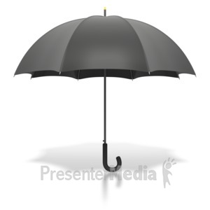 ID# 1861 - Black Umbrella Standing Upright - Presentation Clipart