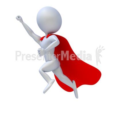 Superhero Flying PowerPoint Clip Art