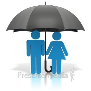 ID# 1875 - Couple Standing Under Black Umbrella - Presentation Clipart