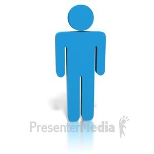 ID# 1879 - Blue Stick Figure Man - Presentation Clipart