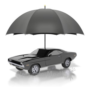 ID# 1888 - Black Classic Car Under Umbrella - Presentation Clipart