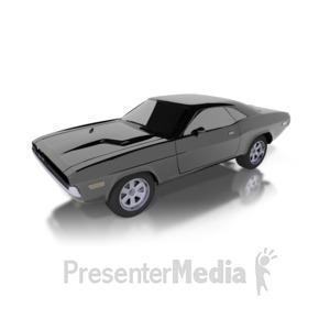 ID# 1898 - Super Black Classic Car - Presentation Clipart