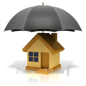 ID# 1899 - House Under Umbrella - Presentation Clipart