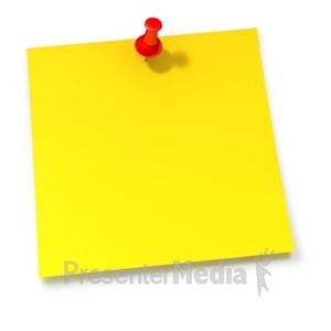 ID# 1903 - Thumbtack In Yellow Sticky Note - Presentation Clipart