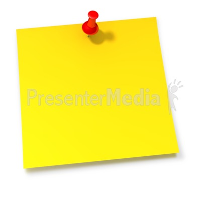Thumbtack In Yellow Sticky Note PowerPoint Clip Art