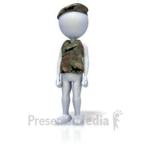ID# 1908 - Military Stand At Attention - Presentation Clipart