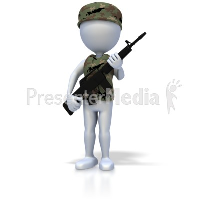 Military Stick Figure With Rifle PowerPoint Clip Art