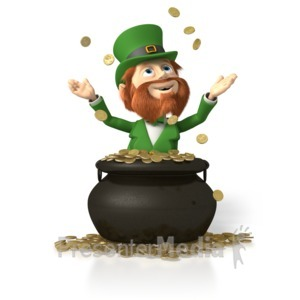 ID# 1910 - Leprechaun In Pot of Gold - Presentation Clipart