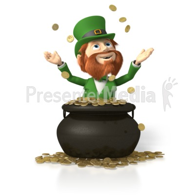 Leprechaun In Pot of Gold PowerPoint Clip Art