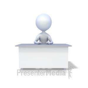 ID# 1923 - Stick Figure At Desk - Presentation Clipart