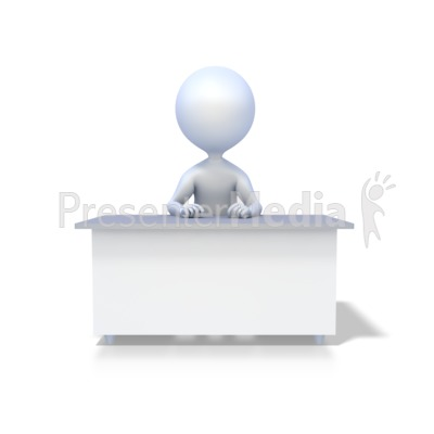 Stick Figure At Desk PowerPoint Clip Art