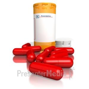 ID# 1956 - Orange Medication Bottle Red Pills - Presentation Clipart