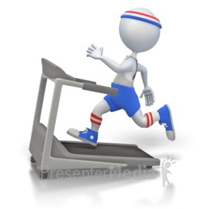 ID# 1968 - Working Out on Treadmill - Presentation Clipart