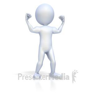 ID# 2005 - 3D Figure Flexing Muscles - Presentation Clipart