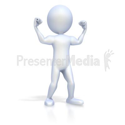 3D Figure Flexing Muscles PowerPoint Clip Art