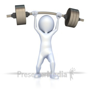 ID# 2008 - 3D Figure Lift Weights - Presentation Clipart