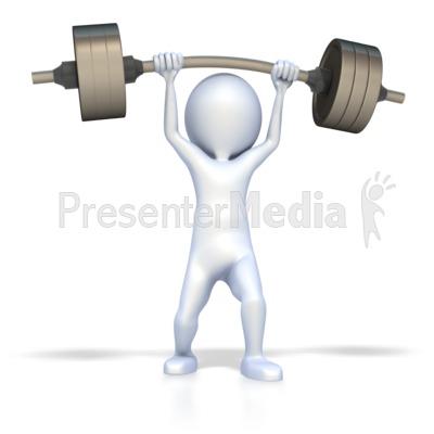3D Figure Lift Weights PowerPoint Clip Art