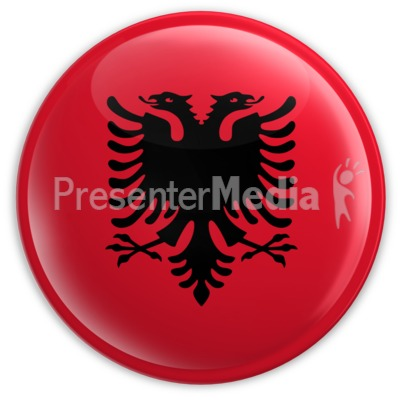 Badge of the Albanian Flag PowerPoint Clip Art