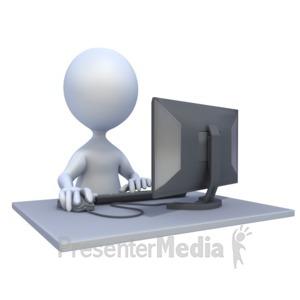 ID# 2044 - 3D Figure Computer Workstation - Presentation Clipart