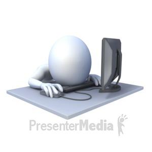 ID# 2049 - Stick Figure Asleep Computer - Presentation Clipart