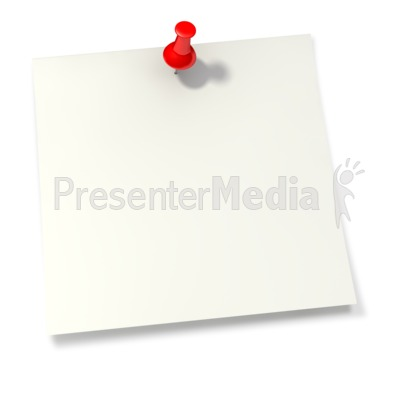 Thumbtack in White Sticky Note PowerPoint Clip Art