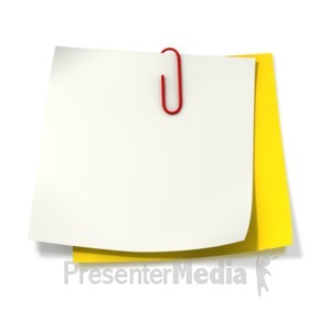 ID# 2061 - Paper Clip Attached to Two Sticky Notes - Presentation Clipart
