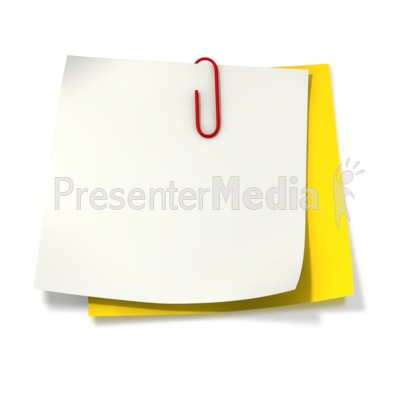 Paper Clip Attached to Two Sticky Notes PowerPoint Clip Art