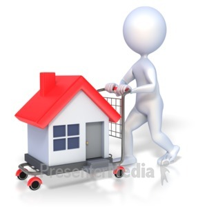 ID# 2083 - 3D Figure House Shopping - Presentation Clipart