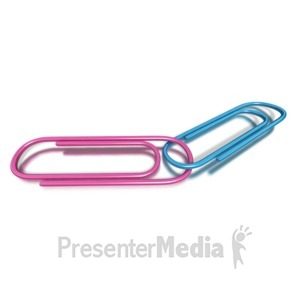ID# 2089 - Pink Blue Paper Clip Together - Presentation Clipart