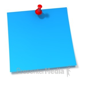 ID# 2090 - Thumbtack In Blue Sticky Note - Presentation Clipart