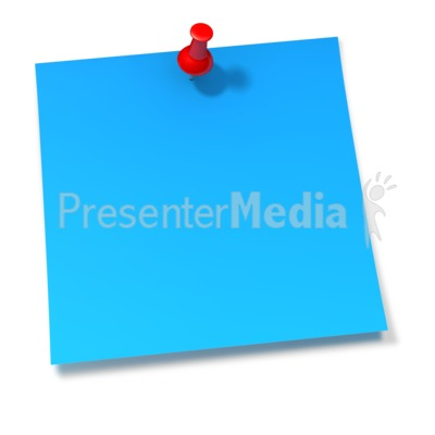 Thumbtack In Blue Sticky Note PowerPoint Clip Art