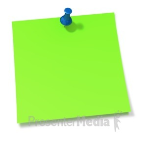 ID# 2091 - Thumbtack In Green Sticky Note - Presentation Clipart