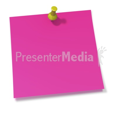 Thumbtack In Pink Sticky Note PowerPoint Clip Art