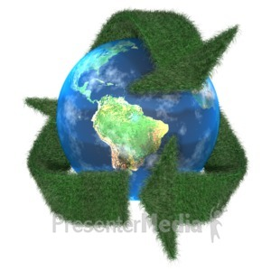 ID# 2100 - Grass Earth Recycle Symbol - Presentation Clipart