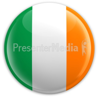 Badge of the Flag of Ireland PowerPoint Clip Art