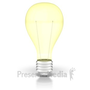 ID# 2124 - Light Bulb On  - Presentation Clipart