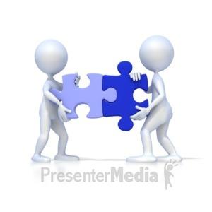 ID# 2127 - Two 3D Figures Solve Puzzle - Presentation Clipart